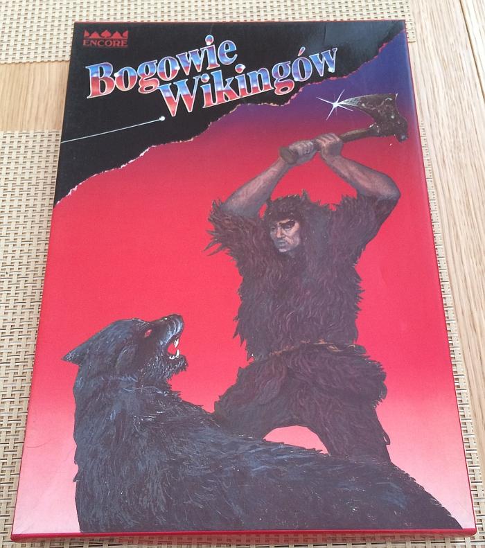"""Pudełko gry planszowej """"Bogowie Wikingów"""" wydanej przez Wydawnictwo """"Encore"""" - wersja pudełkowa"""
