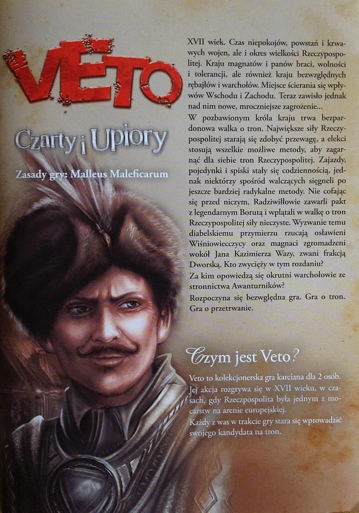 instrukcja do gry karcianej Veto - okładka