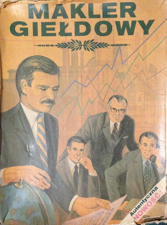 Pudełko gry planszowej Makler giełdowy, wydanej w latach 80. XX wieku, wydawca nieznany