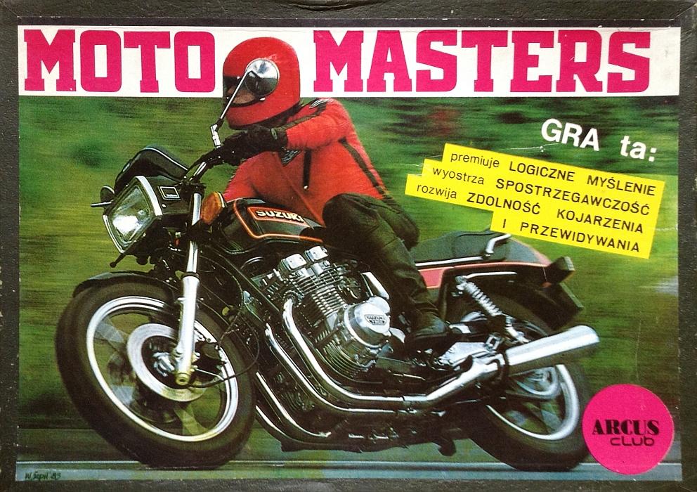 Pudełko gry planszowej Moto Masters wydanej przez wydawnictwo Arcus Club